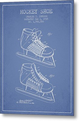 Hockey Shoe Patent Drawing From 1935 - Light Blue Metal Print by Aged Pixel