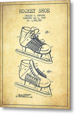 Hockey Shoe Patent Drawing From 1935 - Vintage Metal Print by Aged Pixel
