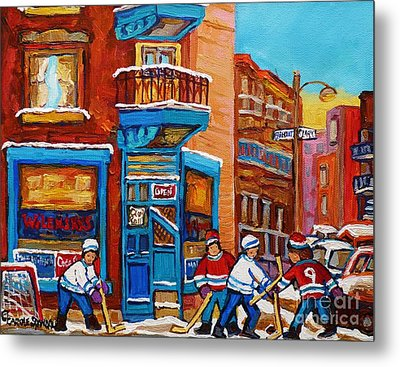 Hockey Stars At Wilensky's Diner Street Hockey Game Paintings Of Montreal Winter  Carole Spandau Metal Print by Carole Spandau