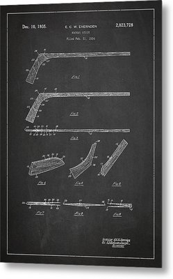 Hockey Stick Patent Drawing From 1934 Metal Print