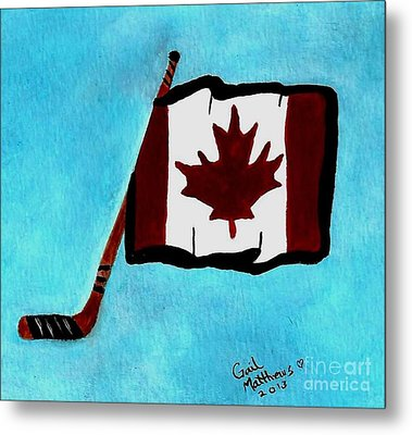 Hockey Stick With Canadian Flag Metal Print by Gail Matthews