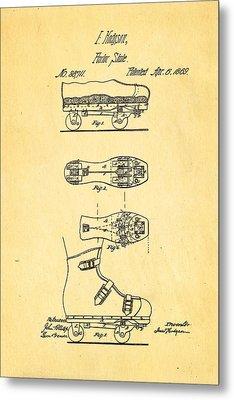 Hodgson Roller Skate Patent Art 1869 Metal Print