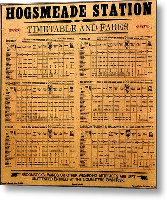 Hogsmeade Station Timetable Metal Print