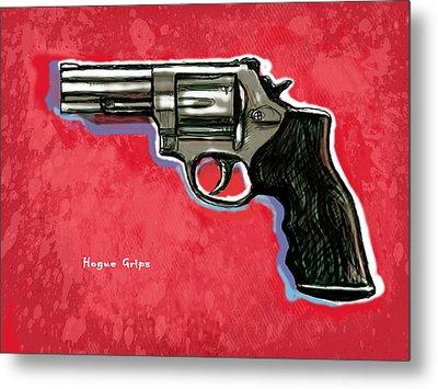 Hogue Grips Hang Gun - Stylised Art Drawing Sketch Metal Print by Kim Wang