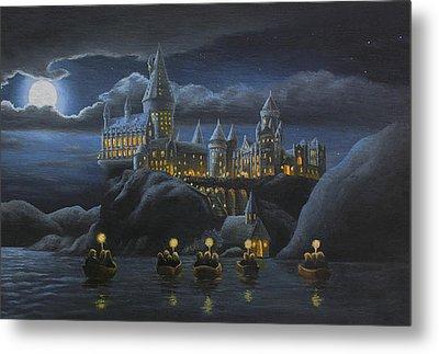 Hogwarts At Night Metal Print by Karen Coombes