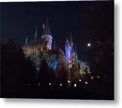 Hogwarts Castle In Lights Metal Print
