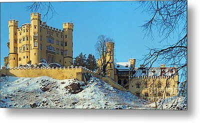 Hohenschwangau Castle Panorama In Winter Metal Print by Rudi Prott