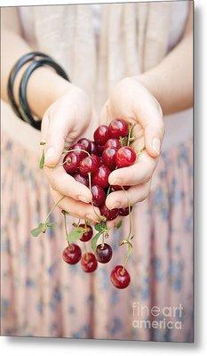 Holding Cherries  Metal Print