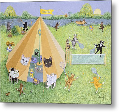 Holiday Camp Oil On Canvas Metal Print by Pat Scott