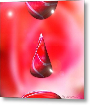 Holiday Droplet - Christmas Rose Metal Print by Anna Porter