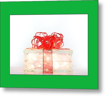 Holiday Glass Gift Box With Red Bow Metal Print by Jo Ann Tomaselli