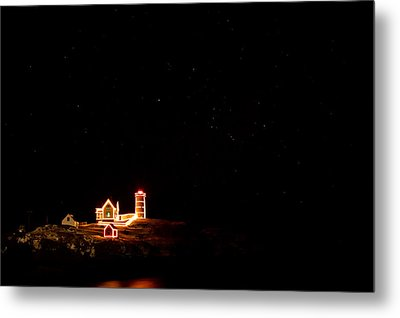 Holiday Lights At Nubble Light Metal Print