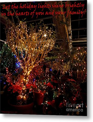 Holiday Lights Greeting Card Metal Print by Gena Weiser