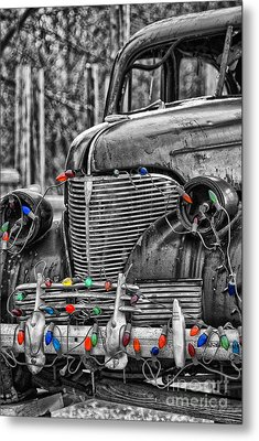 Holiday Lights On Old Truck Metal Print by Birgit Tyrrell