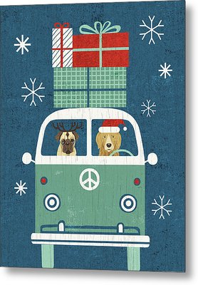 Holiday On Wheels Xii Navy Metal Print by Michael Mullan
