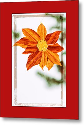 Holiday Pointsettia Art Ornament In Red Metal Print