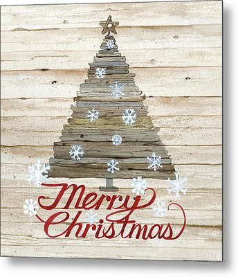 Holiday Sayings V On Wood Metal Print by Kathleen Parr Mckenna
