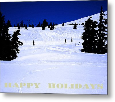 Holiday Skiers At Mt Hood  Oregon Metal Print by Glenna McRae