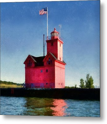 Holland Harbor Light From The Channel Metal Print by Michelle Calkins