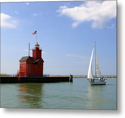 Holland Harbor Lighthouse With Sailboat Metal Print by George Jones