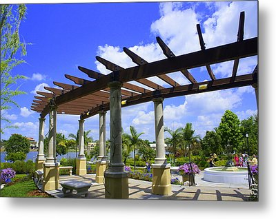 Hollis Pergola Metal Print by Laurie Perry