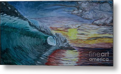 Hollow Wave At Sunset Metal Print