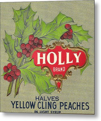Holly Brand Yellow Cling Peaches Metal Print by Studio Art