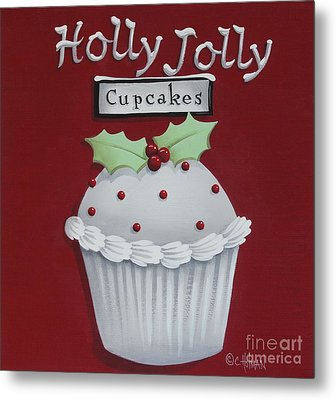 Holly Jolly Cupcakes Metal Print by Catherine Holman