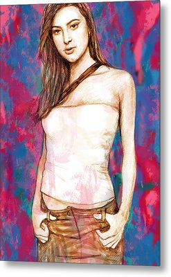 Holly Valance - Stylised Drawing Art Poster Metal Print by Kim Wang