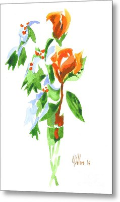 Holly With Red Roses In A Vase Metal Print by Kip DeVore