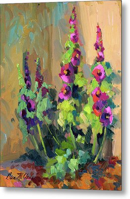 Hollyhocks At Giverny Metal Print by Diane McClary