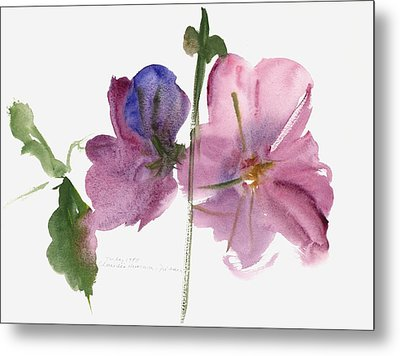 Hollyhocks Metal Print by Claudia Hutchins-Puechavy