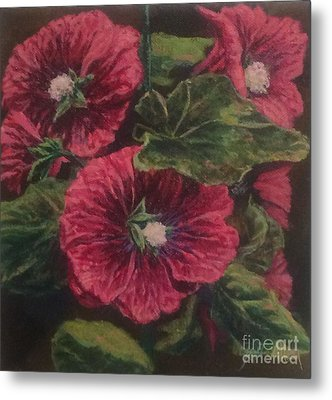 Red Hollyhocks Metal Print