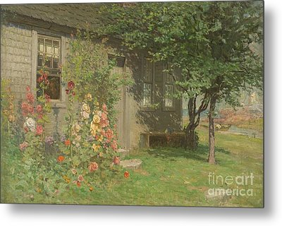 Hollyhocks Nantucket Metal Print by John Joseph Enneking