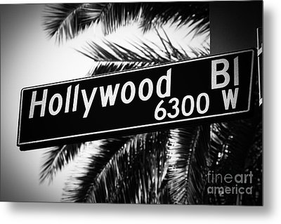 Hollywood Boulevard Street Sign In Black And White Metal Print by Paul Velgos