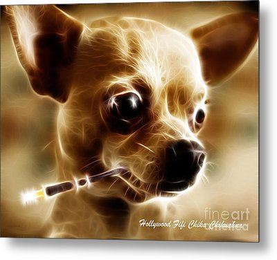 Hollywood Fifi Chika Chihuahua - Electric Art - With Text Metal Print by Wingsdomain Art and Photography