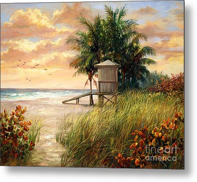 Hollywood Life Guard Hut Metal Print by Laurie Hein