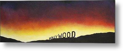 Hollywood On Fire Metal Print by Christine  Webb