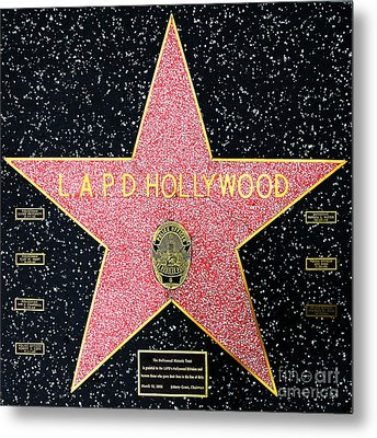 Hollywood Walk Of Fame Lapd Hollywood 5d28920 Metal Print by Wingsdomain Art and Photography