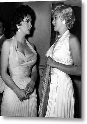Gina Lollobrigida And Marilyn Monroe Metal Print by Retro Images Archive