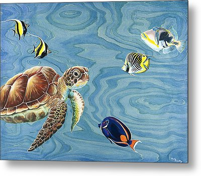 Holoholo Sea Turtle Metal Print