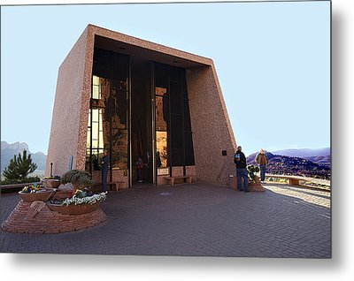 Holy Cross Or Red Rock Chapel Rear View Metal Print by Bob and Nadine Johnston