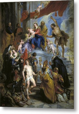 Holy Family With Saints Metal Print by Peter Paul Rubens