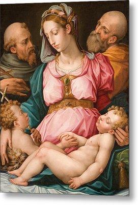 Holy Family With The Infant Saint John The Baptist And Saint Francis Metal Print by Giorgio Vasari