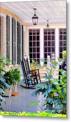 Veranda - Charleston, S C By Travel Photographer David Perry Lawrence Metal Print by David Perry Lawrence