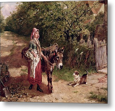 Home From Market Metal Print by Edgar Bundy