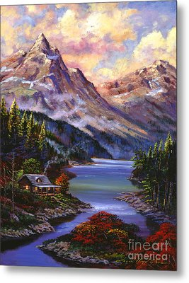 Home In The Mountains Metal Print by David Lloyd Glover