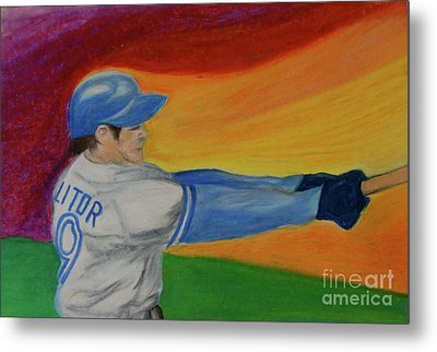 Metal Print featuring the drawing Home Run Swing Baseball Batter by First Star Art