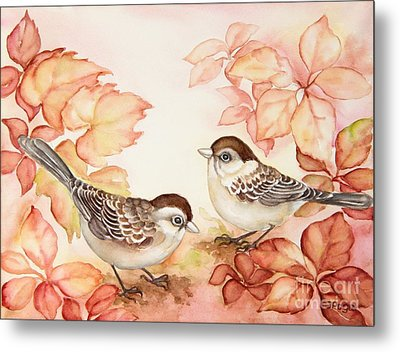 Home Sparrows Metal Print by Inese Poga