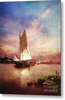 Home To The Harbor Metal Print by Lianne Schneider